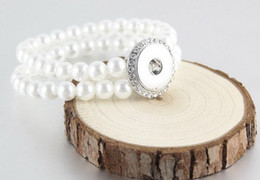Wholesale Pearl Snaps - Popular Noosa 18mm fashion pearl buttons bracelet jewelry accessories snap button jelwery fit 18 20mm charm bracelet giner button barcelet