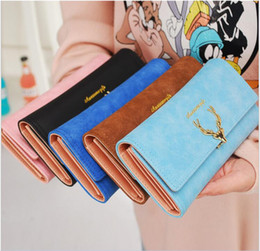 Wholesale Slotted Head - Women's long wallet three fold deer head 2017 new fashion cool demeanor frosted multi carb wallet