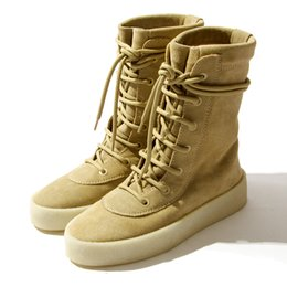 Wholesale Spain Leather - Season 2 Crepe Boot Kanye West BEST QUALITY Kahiki Sand Boots 2016 New High Cut Made in Spain with Original box fashion boot size 36-4