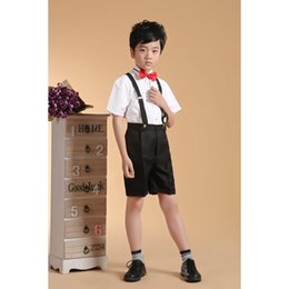 Wholesale Boys Cotton Shirt Wedding - CHENLVXIE High quality Boys' Formal Occasion Kit's Suits Boys' Attire Wedding Apparel Birthday Party Suits Shirt+Pants+Tie+Strap WE011