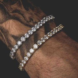 lock bracelets Coupons - Men Iced Out Round Cut Tennis Bracelet 6mm Zirconia Triple Lock Hiphop Jewelry 1 Row Cubic Luxury CZ Bracelets