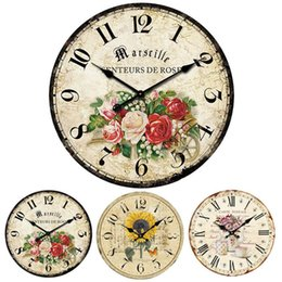 Wholesale Flower Wall Clocks - Wholesale- lovely pet European Style Vintage Creative Village Rural Flower Round Wood Quartz Wall Clock Oct1014