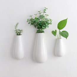 canada set of 3 teardrop ceramic wall vase wall mounted white ceramic planter pots