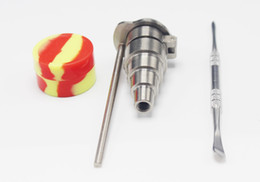 Wholesale Bong Hats - Bong Tool Set 6 in 1 Titanium nail with baseball hat Carb Cap Female & male fit 10 14 18mm Honey Bucket Nail