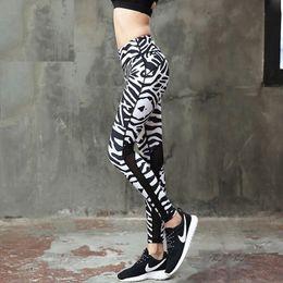 Wholesale Tight Zebra Pants - Women Yoga Pants High Waist Fitness Sport Leggings Tights Slim Running Sportswear Pants Zebra Pattern Hollow Patchwork Trousers