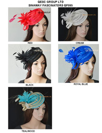 Wholesale Black Hat Fascinator - new Sinamay hat fascinator with feather flower & rhinestone for races.turquoise,purple,cream,black and fuchsia.