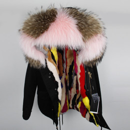 Wholesale Down Lining - New colours Women furs mini parkas hooded with raccoon fur collar Rex rabbit furs lining cold winter down coats
