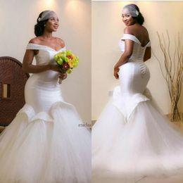 Wholesale Short Taffeta Wedding Dress Sweetheart - 2016 Mermaid White Wedding Dresses With Beaded Flouncing Ruffles Beaded Crystals Stunning Wedding Gowns Sexy Bodycon Arabic Bridal Gowns