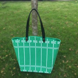 Wholesale Wholesale Fabric Totes - Wholesale Blanks Runway Tote Bag Canvas Material Football Game Day Tote Casual Large Capacity Handbag sports tote DOM103374