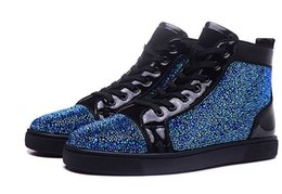 Wholesale Watermelon Rhinestone - Size 36-46 Men and Women Black Suede With Gray White Rhinestone High Top Red Bottom Fashion Sneakers, Unisex Luxury Brand Casual Shoes