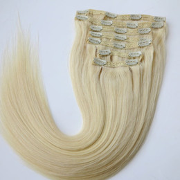 Wholesale Blonde Clip Hair Extensions - Clip in Hair Extensions Brazilian Human Hair 20 22inch 60# Platinum Blonde Straight Hair Extensions 260g 7pcs set
