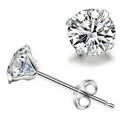 Wholesale Noble Silver - 925 sterling silver stud earrings Luxury Crystal Zircon Stud Earrings for men women Elegant noble earring jewelry high quality