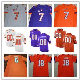 Wholesale Hunter Mens - Mens Clemson Tigers College Football #6 Zerrick Cooper 7 Chase Brice 15 Hunter Johnson O'Daniel White Orange Purple Stitched Jersey S-3XL