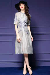 Wholesale Chiffon Knee Length Skirt L - women latest world fashion grace noble dresses A skirt short sleeve Embroidery linen76.7%+silk23.3% high quality