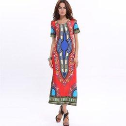 Envío libre al por mayor de manga corta verano africano patrón mujeres Bohemia larga seda de hielo vestidos de playa más tamaño 3XL desde fabricantes