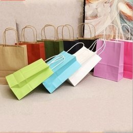 Wholesale Red Paper Gift Bags - Kraft Paper Shopping Bag Square Bottom Red Wine Gift Bags Solid Color Eco Friendly Pouch Non Toxic 1 5md6 B