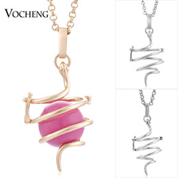 Wholesale Metal Snake Chain Necklaces - VOCHENG Angel Bola Snake Pendant Necklace 3 Colors Plated Copper Metal Cage Prayer Box Jewelry with Stainless Steel Chain VA-231