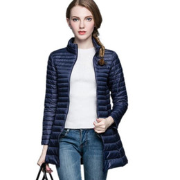 Wholesale white down parka women - 2016 Designer Fall Winter 90% White Duck Down Long Jacket Female Overcoat Ultra Light Slim Solid Jackets Winter Coat Portable Parka S-4XL