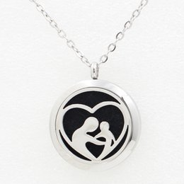 Wholesale Children Perfume Wholesale - 5PCS Mother Child Silver Aromatherapy Locket Necklace Pendant 30MM Essential Oil Diffuser Perfume Necklace Pendant With Pad Chain