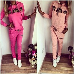 Wholesale Monkey Piece Set - Women Tracksuits Fashion Cute Monkey 3D Emoji Pattern Print Long Sleeve with Hooded Sweatshirts + Pants Suits Set