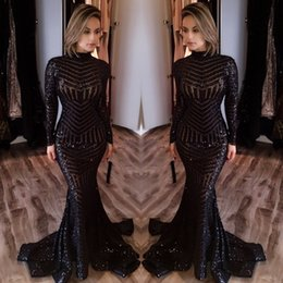 Wholesale Long Sexy Sequin Prom Dresses - Sexy Black Mermaid Evening Dresses 2017 Newly High Neck Long Sleeves Sequined Prom Dresses Sweep Train Celebrity Red Carpet Gowns Custom
