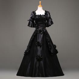 traje de vestido curto victoriano Desconto 2017 Moda Preto Manga Curta Gótico Vitoriano Vestido de Festa de Halloween Traje vestido Personalizado