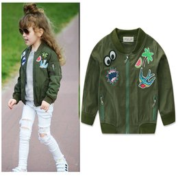 Wholesale Wholesale Embroidered Jackets - INS New autumn styles Embroidered Baseball jacket Long Sleeve Army green children's wear short jacket print jacket free shipping