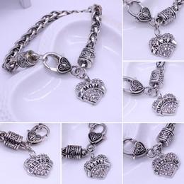 Canada Gros-2016 Nouveau Design Maman Cadeau Charme Strass Coeur Bracelet Lettres MAMAN SISTER NANA MIMI Bracelets Pour Femmes bracelet femme cheap mom sister charm Offre