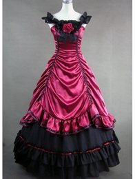 Wholesale New Southern Belle Costumes - 2017 Brand New Elegant and Graceful Red Satin Southern Belle Civil War Victorian Ball Gown Dress Reenactment Theatre Costume