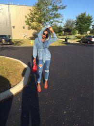 Wholesale Jean Hooded Jacket Women - 2016 coat New Denim coat Oversized Hoodie Hooded Outerwear Jean Wind Jacket Denim Women Coat female autumn chaquetas mujer casual dresses