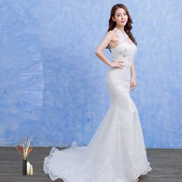 Wholesale Wholesale Sexy Wedding Dresses - 2017 Autumn Wedding Dress Tight Comfortable Lace Hollow Sexy Applique Mermaid Trumpet Train Sleeveless Lace-up Back Halter Tiers B-72