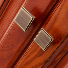 Wholesale Brass Closet Knob - single hole solid antique drawer knob furniture door hardware wardrobe cabinet shoe door closet handle household pull