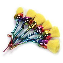 Wholesale rainbow hair flowers - Rose Flower Makeup Brushes Set Rainbow Synthetic Hair Professional Foundation Make Up Set Cosmetic Brush Kits Brush Tools 6pcs