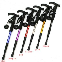 Wholesale Steel Section - T-handle 4-section 6 colors telescopic walking Cane Aerial Aluminium Alloy alpenstocks antishocks hiking climbing stick trekking pole