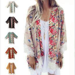 Wholesale Black Lace Shirt Chiffon Blouse - Retro Shawl Lace Stitching Floral Print Kimono Cardigan 2016 Fashion Women Blouse Shirt Tops Batwing Sleeve Blusas Femininas