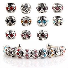 Wholesale Crystal 925 Big Hole Beads - 925 Silver Pandora Style European Big Hole Loose Beads Crystal Rhinestone for Snake safety chain Fit DIY Charm Bracelet Jewelry