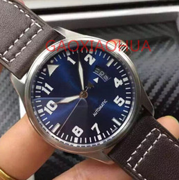 Wholesale Complete Machine - a- Machine Automatic Watches Sexy Night Dark Blue Leather Clocks Power Reserve Waterproof Prince Pilot hour 7 Day 7Day Mechanical Watch