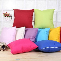 Wholesale christmas pillow cases - 45 * 45CM Home Sofa Throw Pillowcase Pure Color Polyester White Pillow Cover Cushion Cover Pillow Case Blank christmas Decor Gift IB272