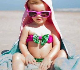 Wholesale Swimming Suits For Baby Girls - baby swimming clothing 2016 New Mermaid wim suits for kids Fashion Bowknot Fancy Beach Swimwear Children Bikini set F162