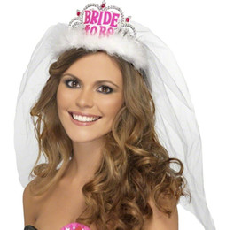 Wholesale Night Dress Bride - BRIDE TO BE CROWN LADIES HEN NIGHT PARTY FANCY DRESS COSTUME ACCESSORY WITH VEIL