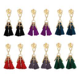 Wholesale Dangling Accessories - Hot sale vintage tassel Dangle earrings for women european and american style dangling flowers earrings jewelry accessories