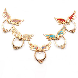 Wholesale Gold Rhinestone Wings Ring - DHL Universal 360 Degree Angel Wings Finger Ring Holder Rhinestone Phone Stand For iPhone X Samsung Mobile Phones