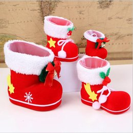 Wholesale Plastic Flock Box - 4Sizes (S,M,L,Mini) Christmas Candy Boots Santa Claus Flocking Boots Stockings Decorative Candy Gift Box Home Decoration Supplie