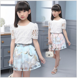 Wholesale Girls Swan Sets - 2 Pcs Set 2016 Big Girls Summer Clothing Sets White Lace Hollow Out Tops+Plaid Swan Printed Tutu Skirt Children Suits Girl Outfits 5sets lot