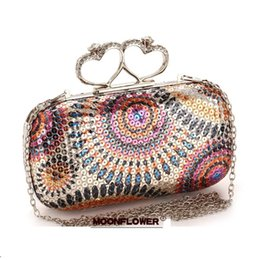 Wholesale Black Diamond Lady Rings - hot sale Gold Silver Black 3 colors Fashion Lady Handmade Clutch Purse Diamond Crystal ring sequined glittering Evening Bag