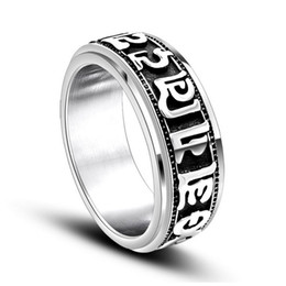 Wholesale Mani Padme - Men's vintage stainless steel rotating rings Om mani padme hum titanium steel metal mixed rings jewelry accessories