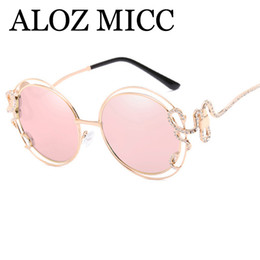 Wholesale Ladies Leg Sunglasses - ALOZ MICC Luxury Oversized Diamond Sunglasses Women Sexy Double Circle Hollow Sun Glasses Irregular Mirror Legs ladies Eyeglasses A417