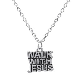 Wholesale Christian Gold Pendants - Word Walk With Jesus Charm Pendant Jesus Piece Christian Necklace Simple Style Antique Silver Plated