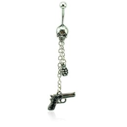 Wholesale Belly Button Chains - Brand New Belly Button Rings Surgical Steel Skull Barbell Dangle Link Chain Gun Navel Piercing Jewelry