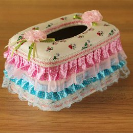 Wholesale Lace Tissue Box Covers - Wholesale- Hot Sale Cute Fashion High Quality Pink Lace Flower Bow Towel Pumping Tissue Cover Napkin Box Retail#S406